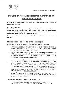 Dret al vot dels ciutadans estrangers i euroresidents