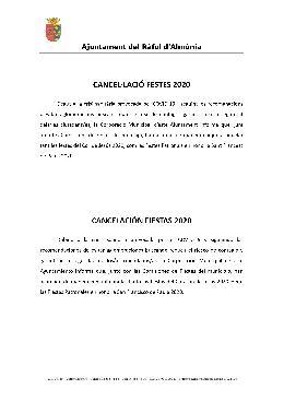 CANCEL· LACIÓ FESTES 2020