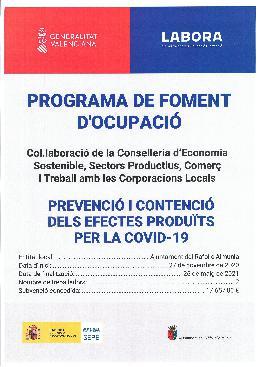 PROGRAMA DE FOMENT D'OCUPACIÓ-ECOVID 2020